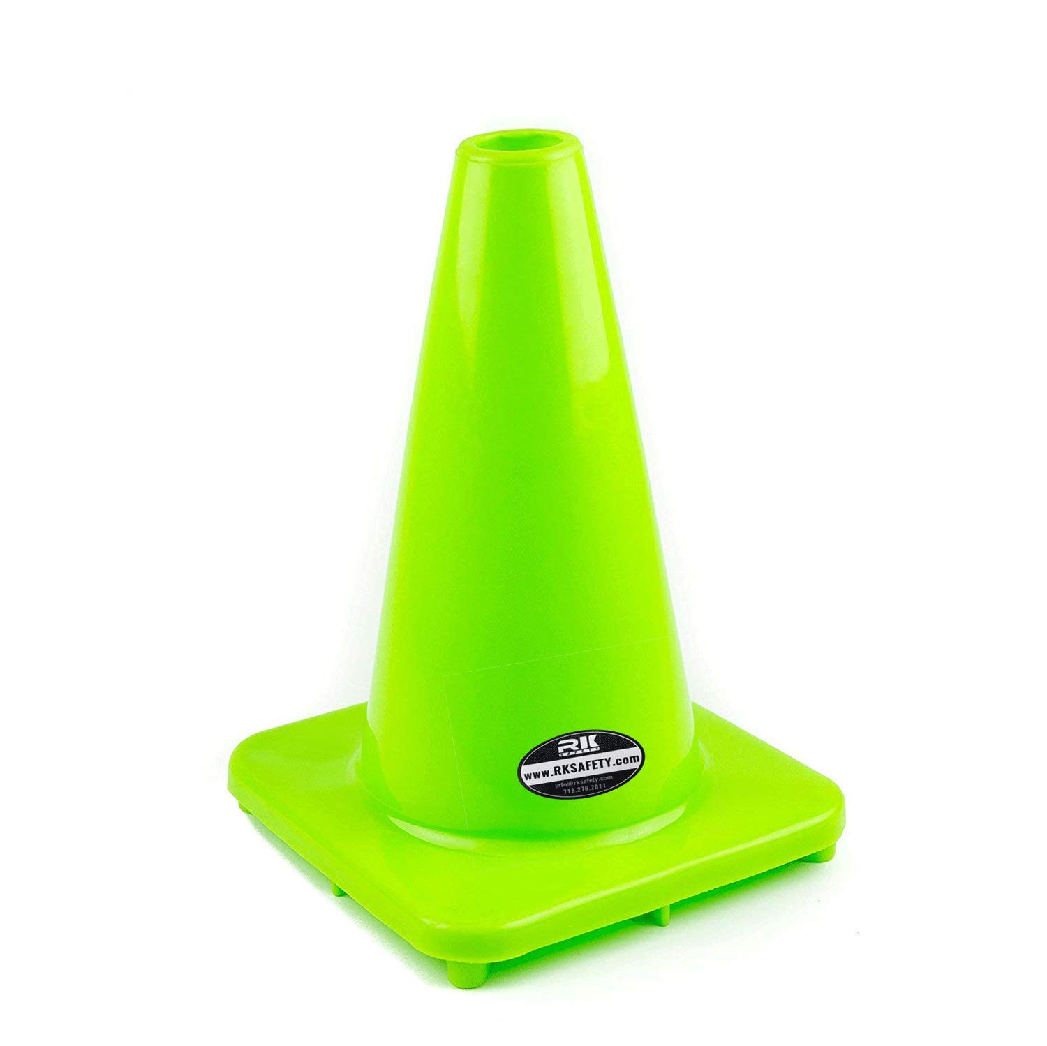 (Set of 40) RK PVC Traffic Safety Cone, Lime, 12-Inch