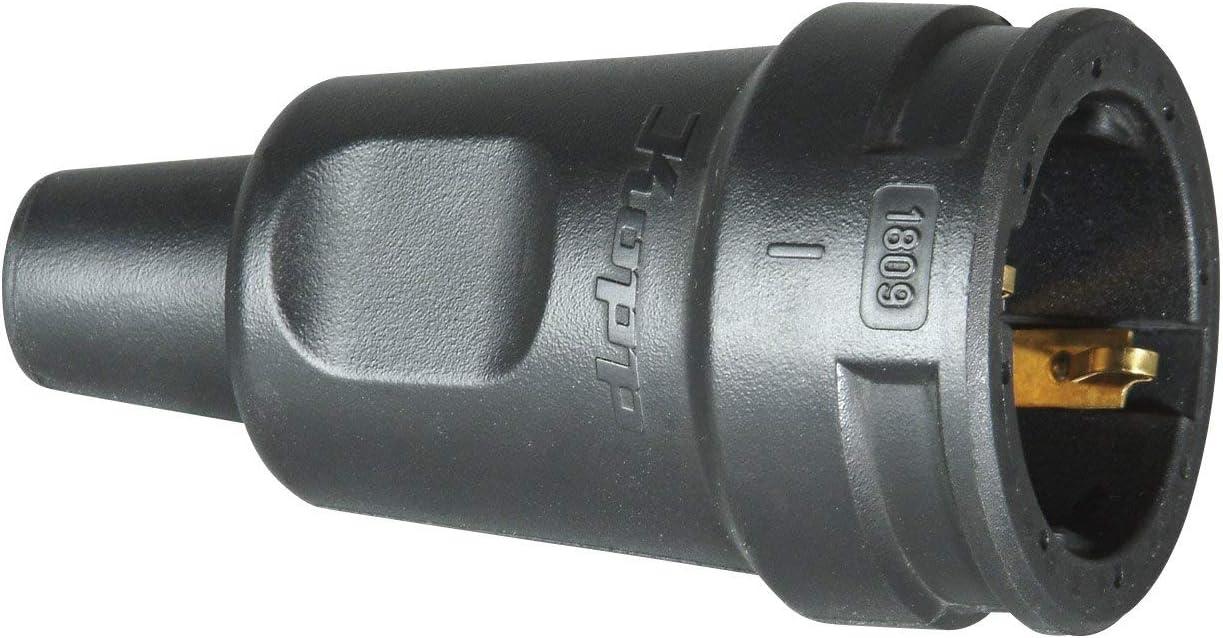 Kopp 180916009 Raccord Caoutchouc avec Terre et Protection Anti-pli Noir