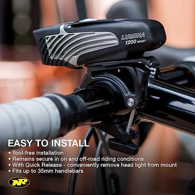 Niterider Lumina 1200 Boost /& Solas 250 Lumens Bike Head /& Tail Light Combo Set