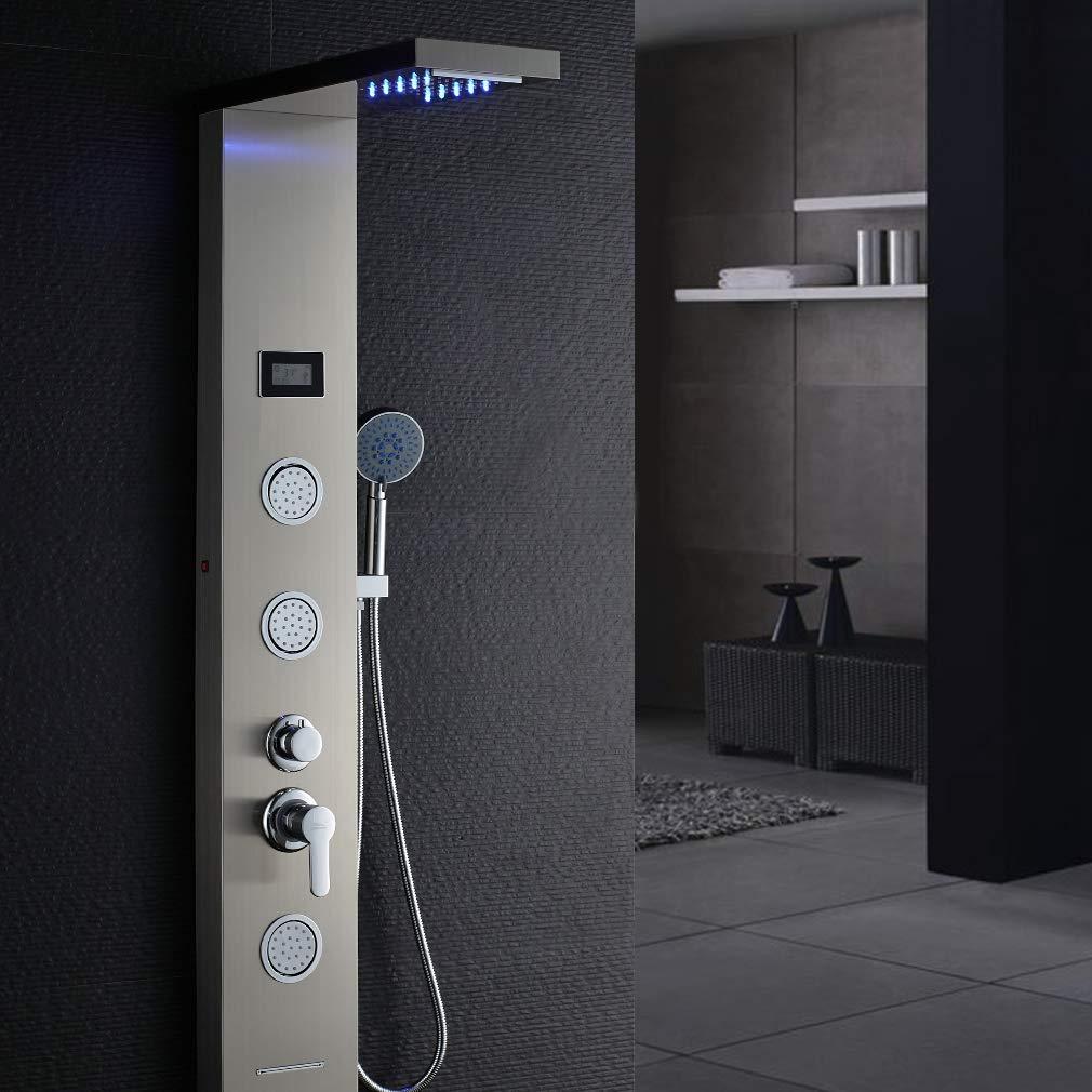 Auralum® Pannello colonna doccia idromassaggio in acciaio 4 funzioni set doccia completo con Soffioni doccia + ABS doccia a mano soffione (820)