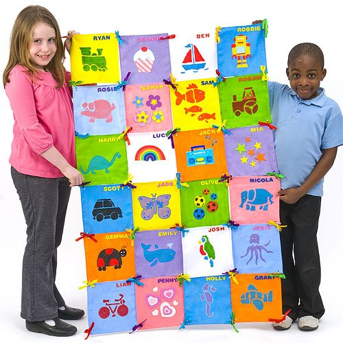 Patchwork Wall Hanging 32 Plain Fabric Squares  with Ribbons