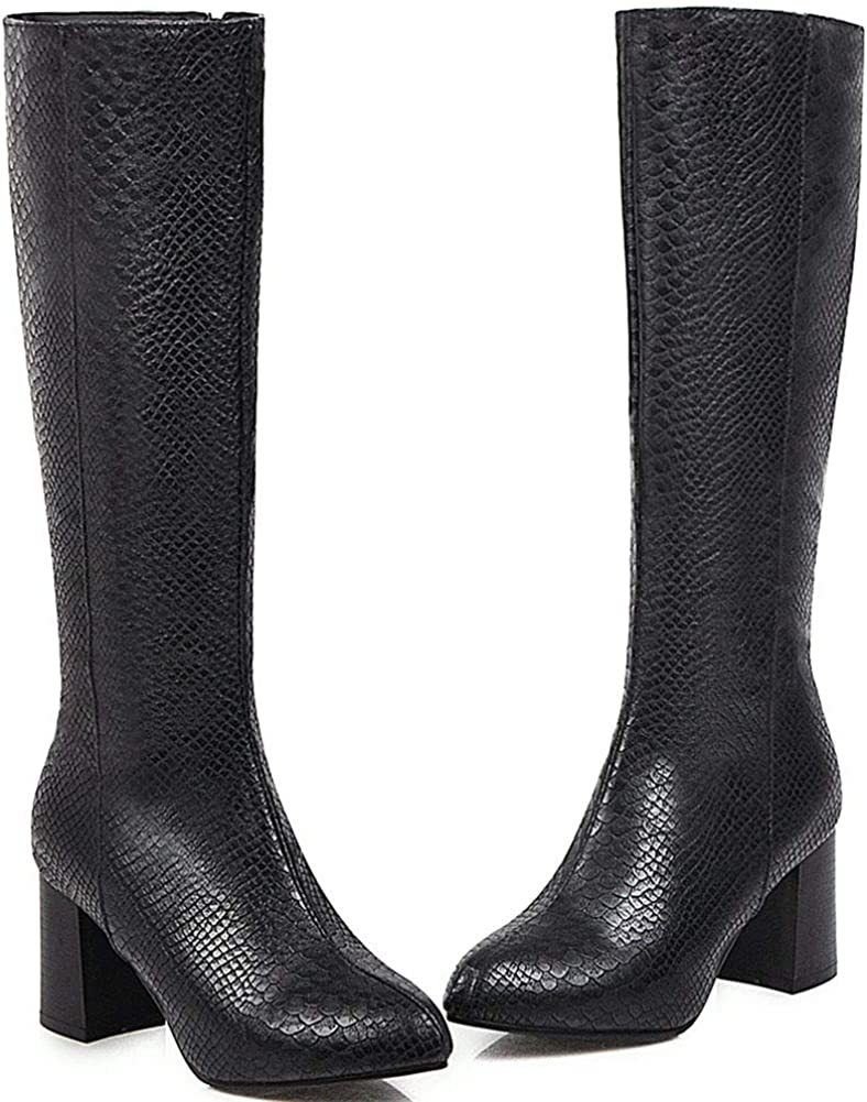 Vimisaoi Womens Wide Calf Knee High Boots, Chunky High Heels Autumn Winter Slouch Riding Mid Calf Boots