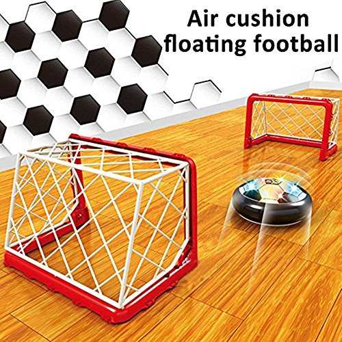 (Kids Air Hover Soccer Ball Toy,Air Power Electric Soccer Disk Goal Gate Set with LED Lights and Foam Bumpers for Boys Girls Indoor Outdoor Sport Football Training Parent-child Game Gift By Hmjunboys)