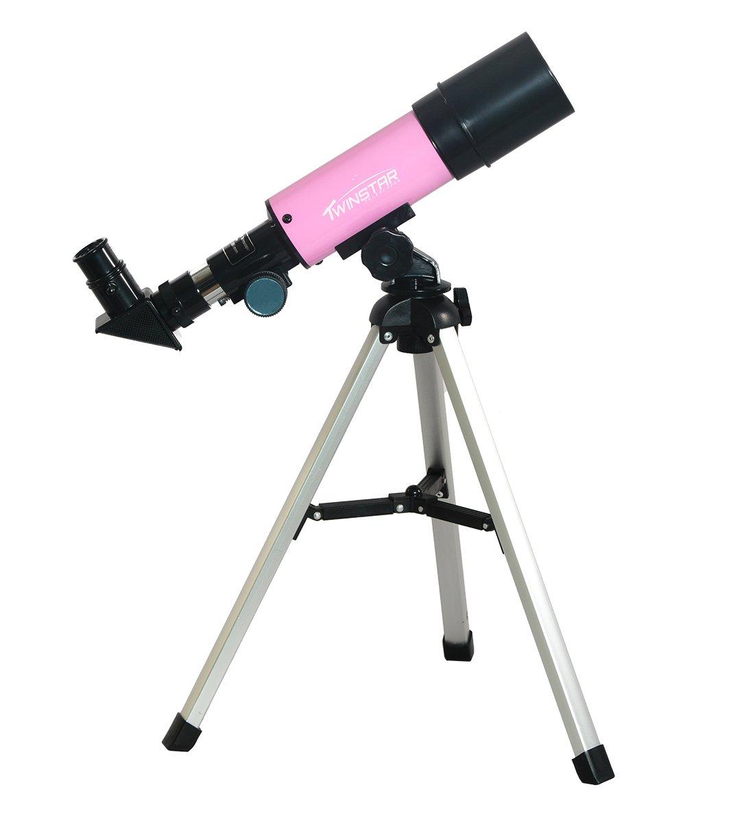 TwinStar 50mm Beginner Compact Refractor Telescope Kids Pak Bundle with Tabletop Tripod (Pink)