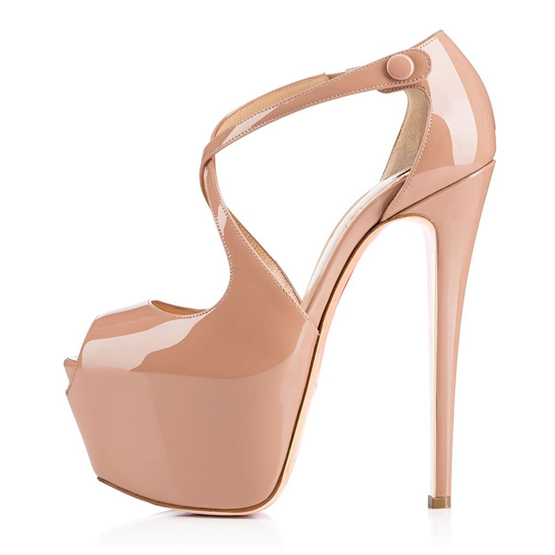 ELASHE - Zapatos para Mujer - Crossstrap Tacón de Aguja -15CM Peep Toe - 4CM Plataforma Tacones Mujer Fiestas Oficina 41 EU|Beige