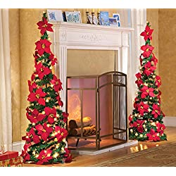 "Lighted Holiday Poinsettia Pull Up Artificial Christmas Tree, Red, 52""H"