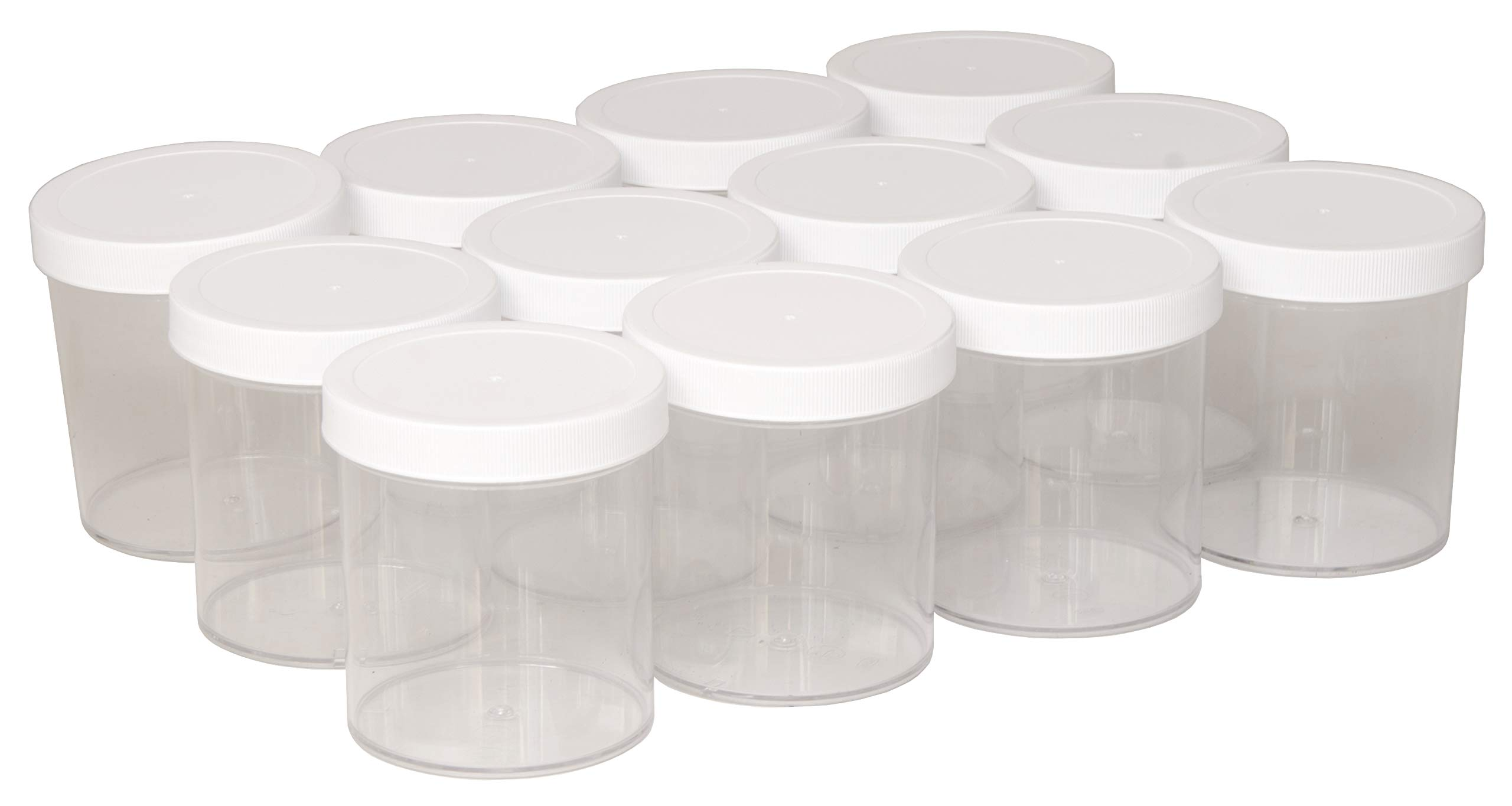 North Mountain Supply 16 Ounce Polystyrene Clear Plastic Straight Sided Spice/Storage/Ingredients Jars - with White Plastic Lids - Case of 12 by North Mountain Supply