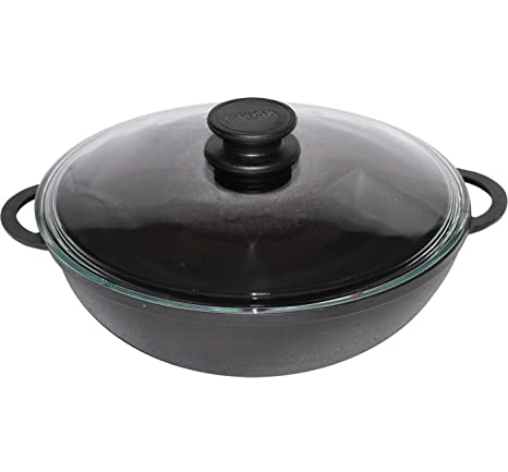 Cast Iron WOK Pan For Healthy Cooking 26 cm With Lid Induction BIOL