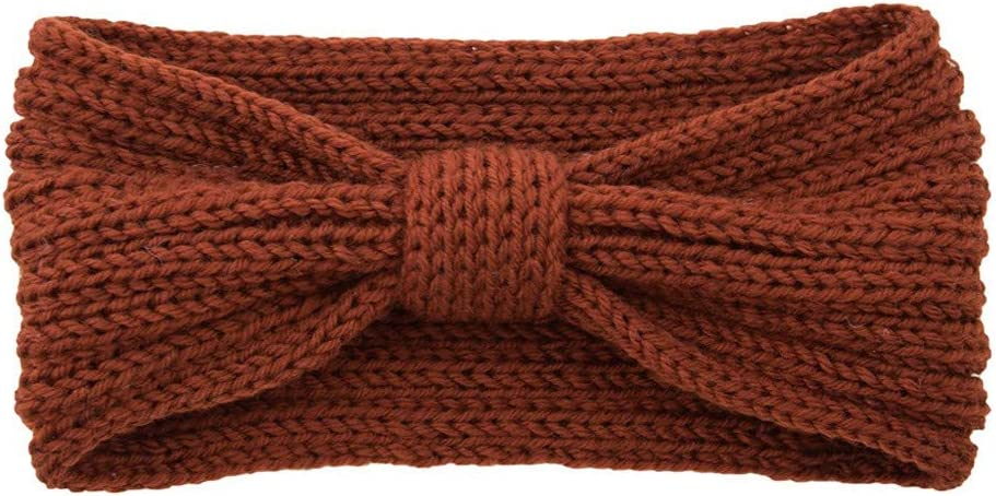 Iusun Thermal Headband Knitting Bow Hairband Autumn and Winter Turban Hat Sports Head Wrap Cap Accessories Hairband Hair Care Decoration