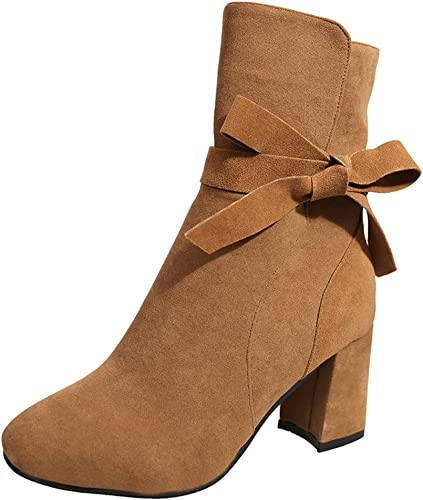 Sunmoot Leather Ankle Boots Women Fashion Zipper Round Toe Chunky High Heels Shoes