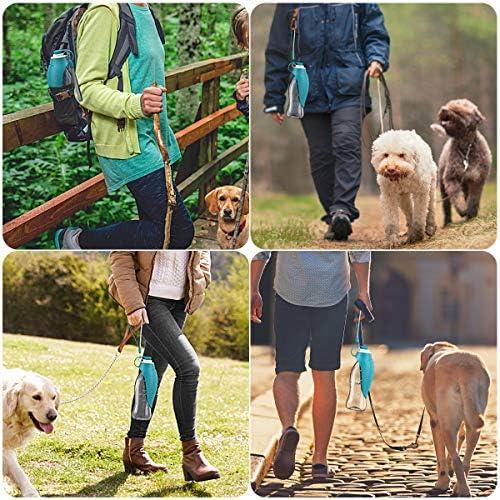 ORIA Botella de agua para perro, botella portátil de agua para mascotas, botella de agua para mascotas, 20 onzas con dispensador de bolsas de residuos para perros, botellas de agua para viajes, caminar 3