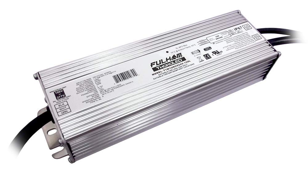 Fulham Lighting T1M1UNV024V150L ThoroLED-Single Channel-0-10V Universal Input-24V DC Constant Voltage Output-150W Max-IP67 Dimming LED Driver