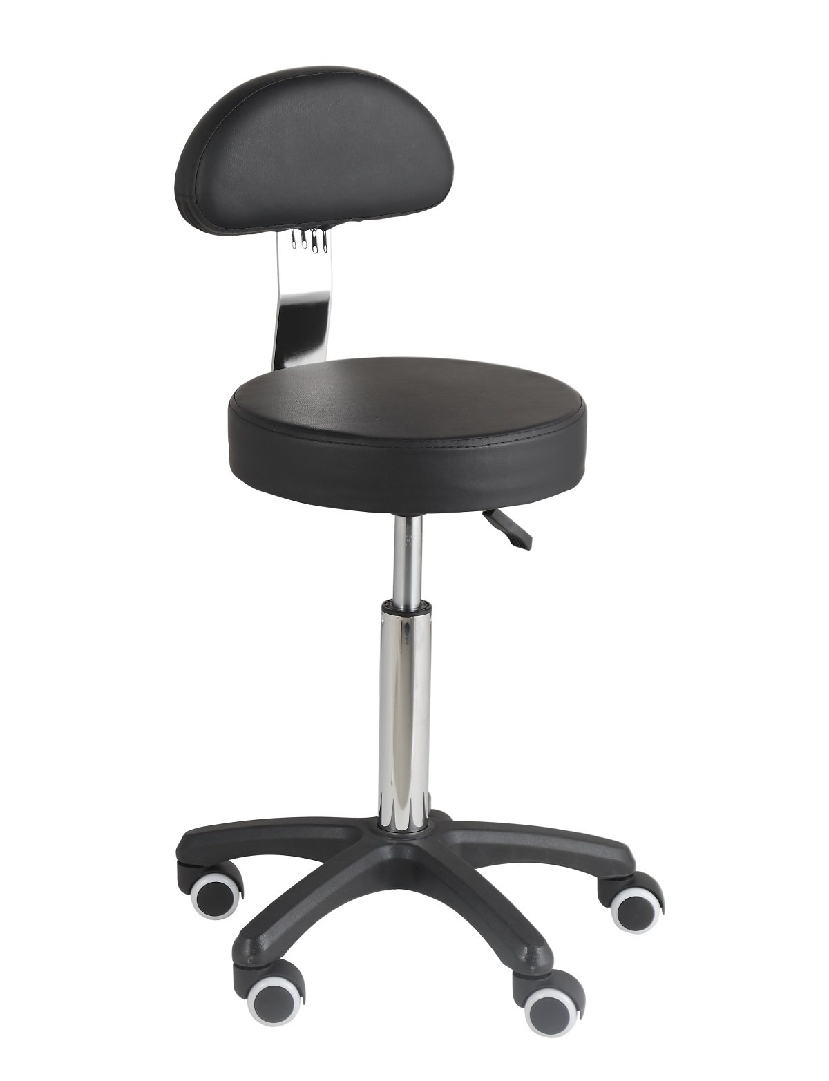 Studio Stool Chair Adjustable Swivel Rolling for Home Office Work-Benches Lab Hospital Kitchen Stool with Back Support Larger Cushioned Seat