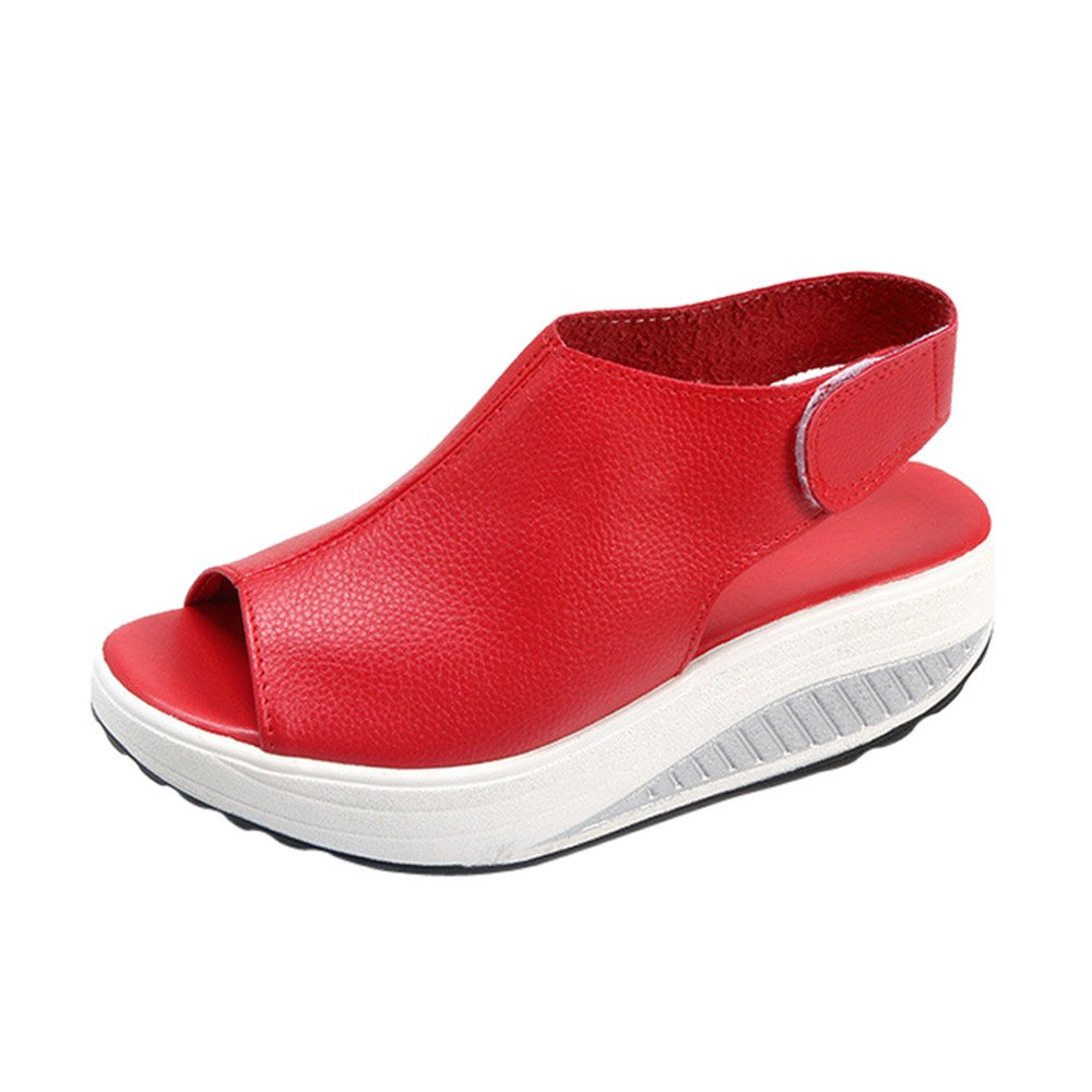 ★QueenBB★ Women's Platform Heeled Leather Comfort Fish Mouth Peep Toe Walking Wedges Sandals Red