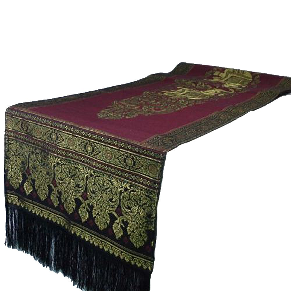 """New Arrival Thai Silk Red Couple Elephants in Shiny Gold Bed Table Runner Decorations 19""""x 78''"""