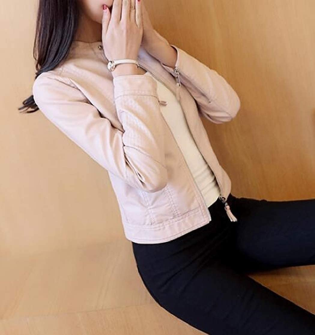 JuJuTa Women Motorcycle Fashion Faux Leather Fit Coat Jackets