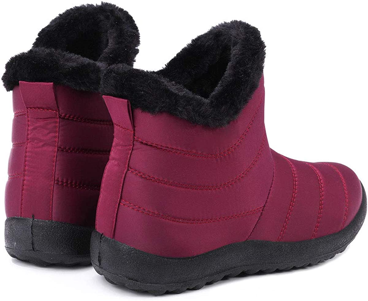 Pumoes Womens Snow Boots Water Resistant Warm Winter Booties Lightweight Ankle Flats Shoes Casual Camp Boot