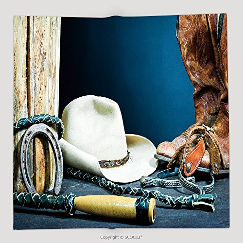 Marbles Cowboy Knife (Custom Cowboy Boots Horseshoe Whip Spurs And Hat On Wood 80352517 Soft Fleece Throw Blanket)