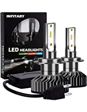 Infitary-H7 Front Headlight IP67 LED ZES Chips 64W 6500K 8000LM Waterproof Single Beam Car Motorcycle 1 Pair Black