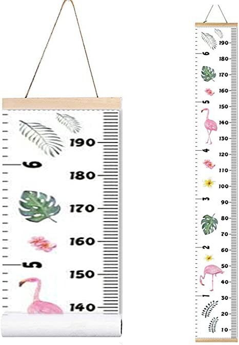 VASANA Kids Baby Growth Chart Ruler 8 x 79 Wood Frame Height Measure Chart Canvas Pink Flower Hanging Removable Wall Ruler Wall Decor Nursery Decoration for Kids Girls Boys Toddlers Gift