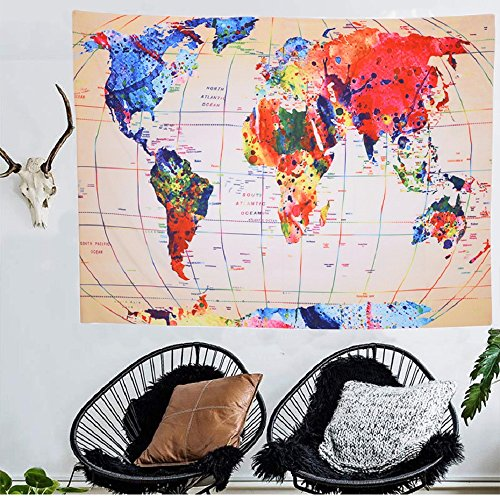 """World Map Tapestry Global Map Wall Hanging Retro Art Geography Teaching Earth Map Mandala Bohemian Tapestry Home Decor Queen Size 59""""x79"""""""