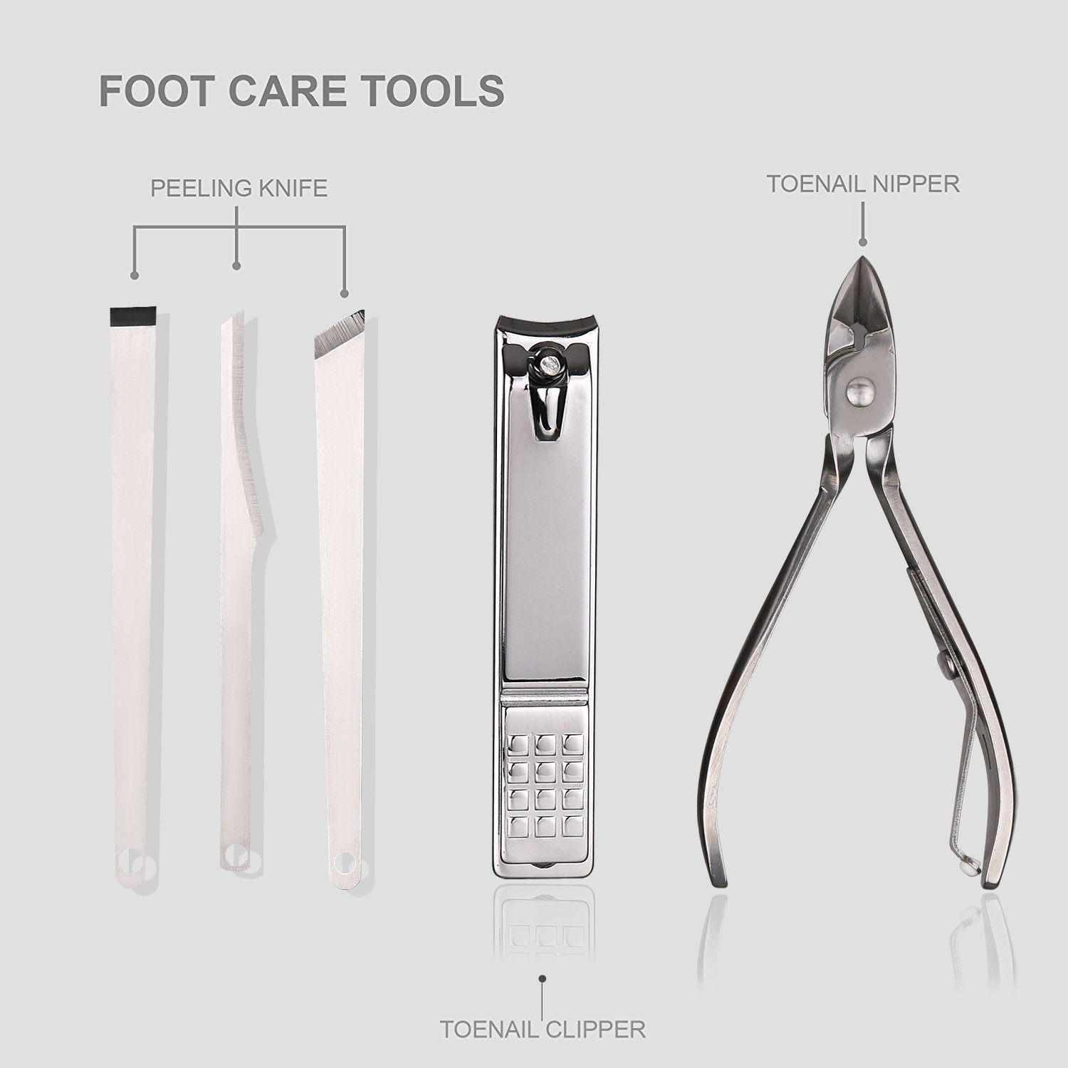 Teamkio Manicure Pedicure Set Nail Clippers Travel Hygiene Kit Stainless Steel Professional Nail Cutter Care Set Scissor Tweezer Knife Ear Pick Utility Tools Grooming Kits with Leather Case 16 pcs