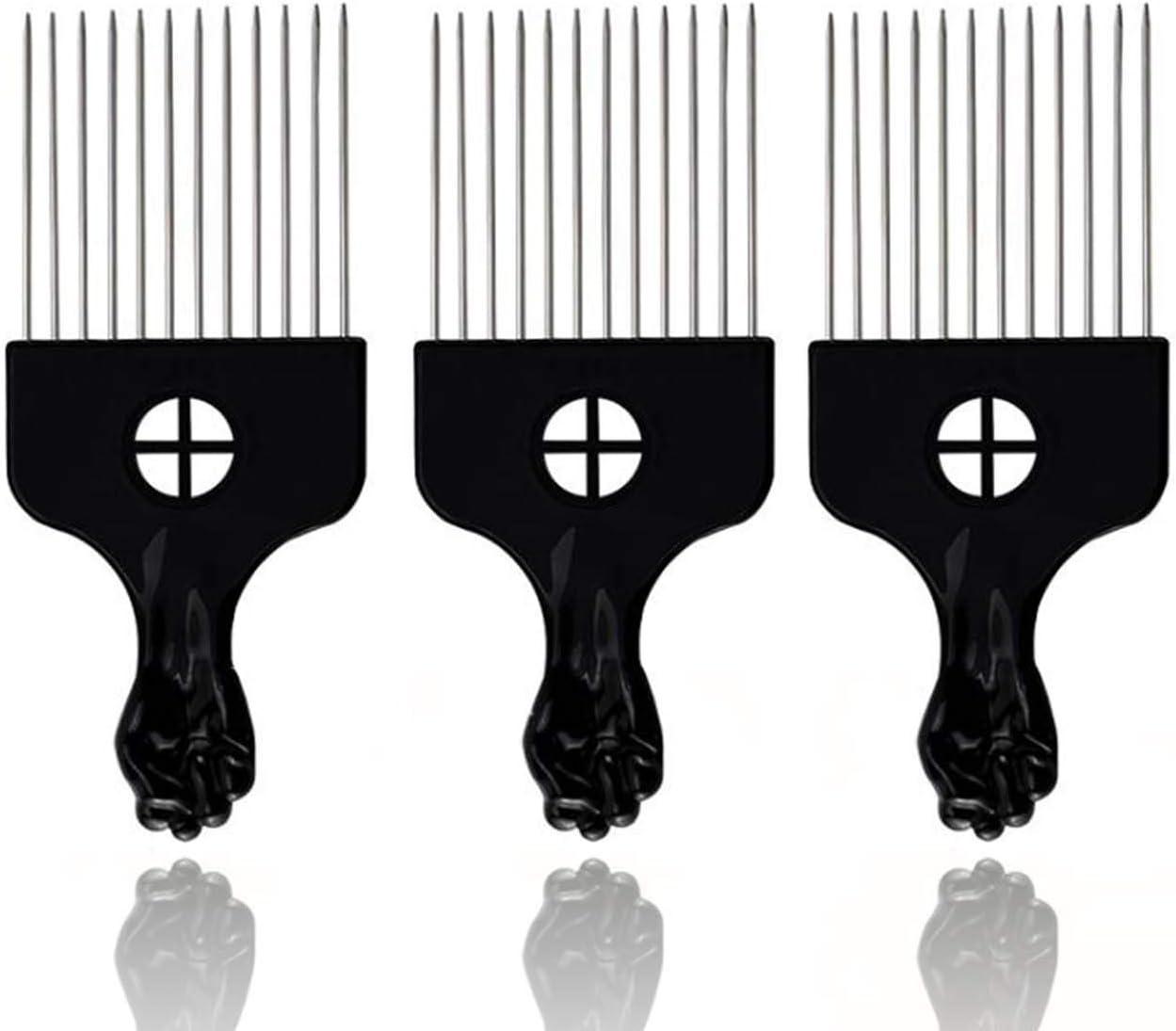 Nicute Afro - Peine para el pelo (metal, 3 unidades), color negro