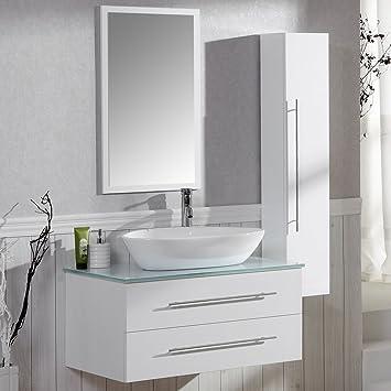 Talson Badezimmer Komplett-Set Badmöbel inkl. Waschbecken, Armatur  Waschbeckenunterschrank, Seitenschrank und Spiegel Badezimmermöbel Set