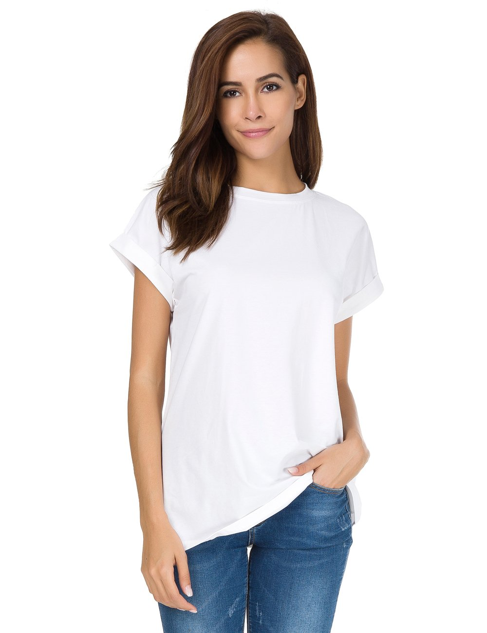 nordicwinds Women's Summer Casual Crew Neck Plain Fit T-Shirt Tops