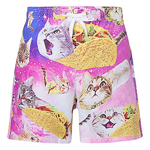 BFUSTYLE 7T 8T Kids Boy Quick Dry Mesh Lining Burger Burrito Pizza Cat Hawaiian Surfing Board Trunks Swimming Bathing Shorts Casual Comfy Homewear Costume for Summer Daily]()
