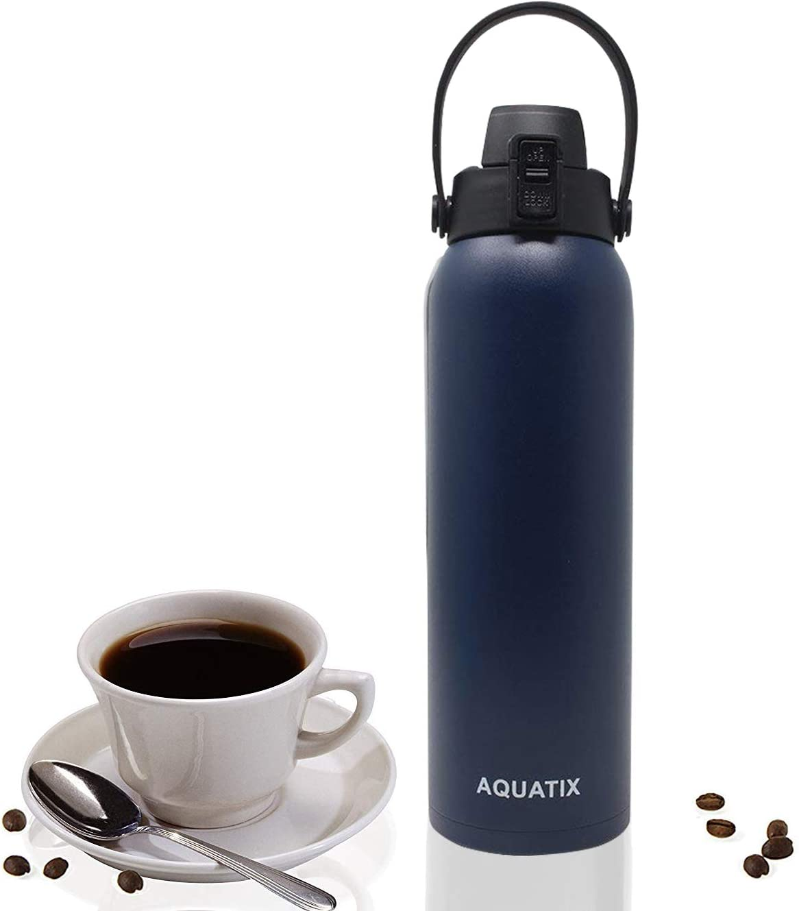 Aquatix Flip Top Double Wall Insulated Stainless Steel Sports Water Bottle (Midnight Blue, 32-Ounce) by Aquatix FlipTop Sport Bottle