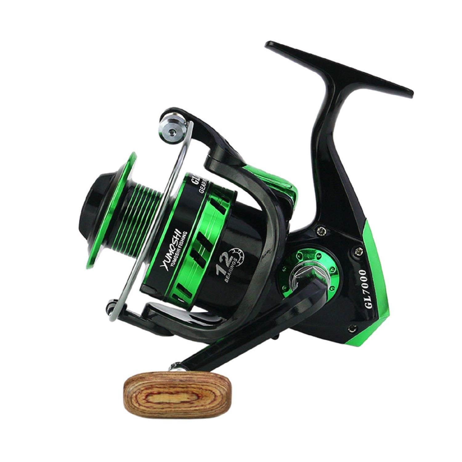 Sanhezhong Fishing Reel, 5.5 1 Speed,12BB Light Weight Ultra Smooth Aluminum Spinning Fishing Reel Available in Sizes 2000,4000,5000,7000