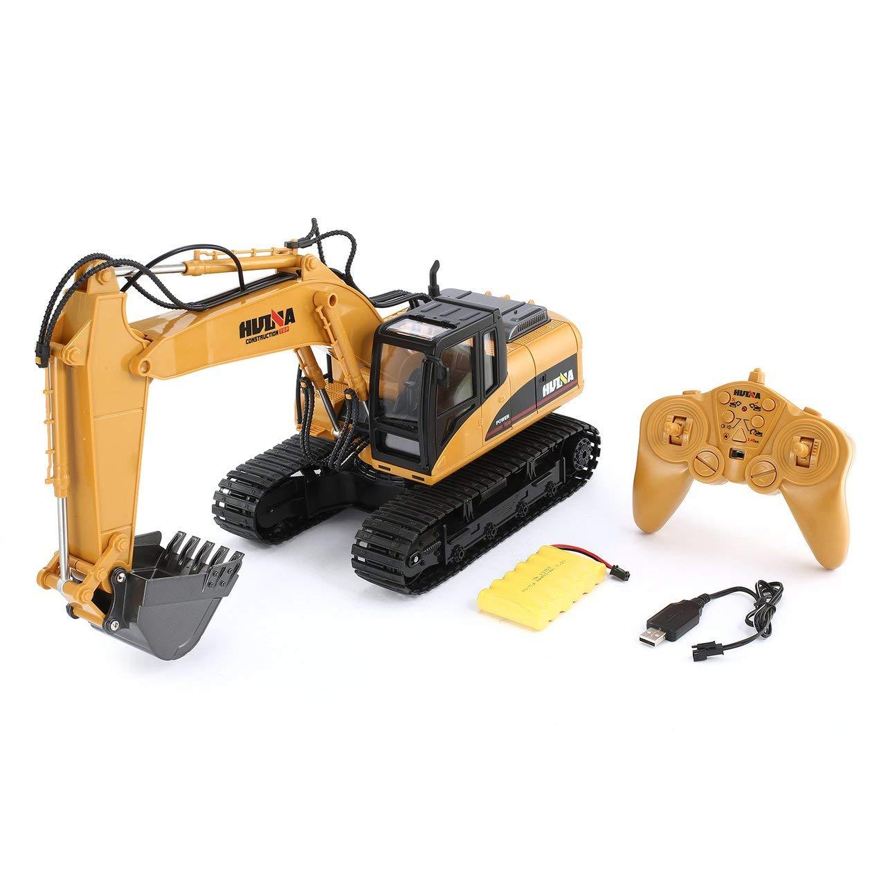 Dooret HUINA 1550 1/14 15CH 680 Grad Rotation Legierung Eimer RC Bagger Baufahrzeug Spielzeug Geschenk mit Cool Sound / Lichteffekt