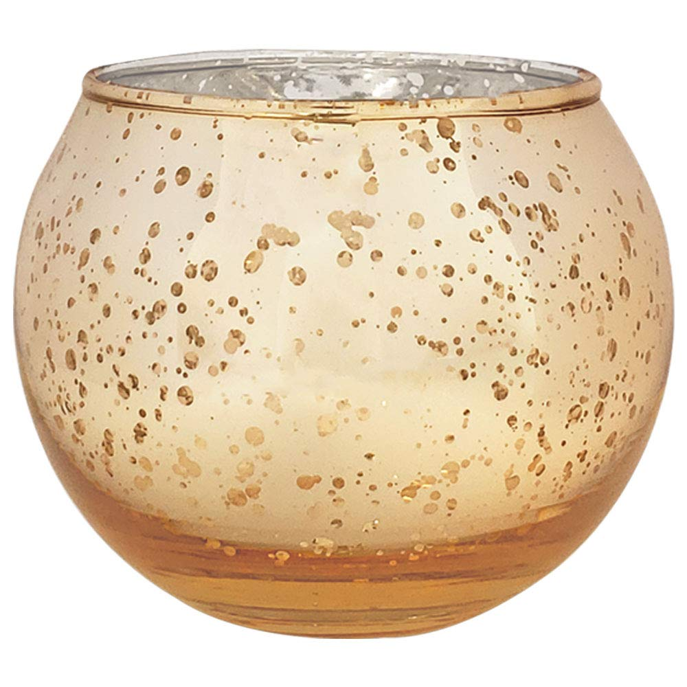 Just Artifacts Bulk Round Mercury Glass Votive Candle Holders 2'' H Speckled Gold (Set of 200)