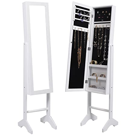 FDS Mirror Jewellery Cabinet Floor Standing Jewelry Organiser (White)