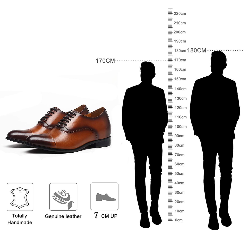 2.76 pollici pi/ù alto CHAMARIPA Uomo Ascensore scarpe di cuoio nuovo alla scuola Vestito altezza dei pattini pattini aumentanti
