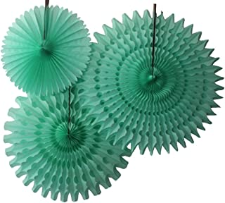product image for Set of 3 Honeycomb Tissue Fans, Mint (13-21 Inch)