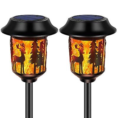 SOLARMKS Solar Lights Outdoor Decorative Metal Design Solar Torch Lights Flame Dancing Outdoor Lighting Waterproof for Garden Lawn Camp Landscape, 2-Packed : Garden & Outdoor