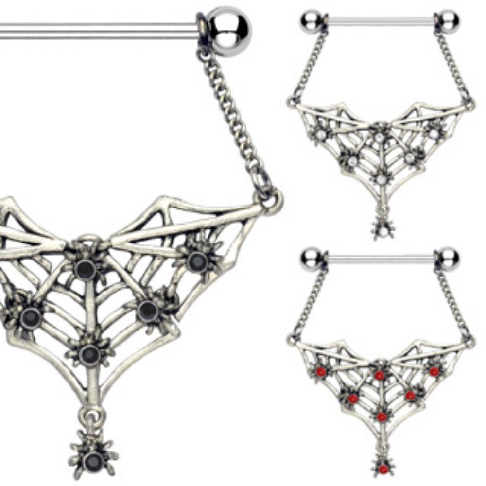 Gemmed Spiders and Bat Web Dangle 316L Surgical Steel WildKlass Nipple Shield Sold as Pair