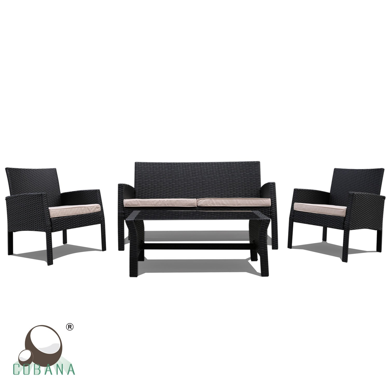 Cobana 4 Piece Rattan Wicker Sofa Sectional Patio Furniture Set EBay