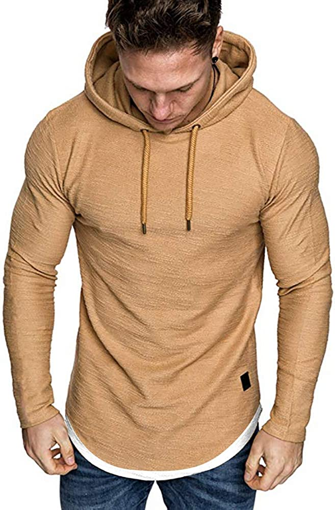 Men's Casual Hooded T-Shirts - Fashion Short Sleeve Solid Color Pullover Top Summer Blouse at  Men's Clothing store