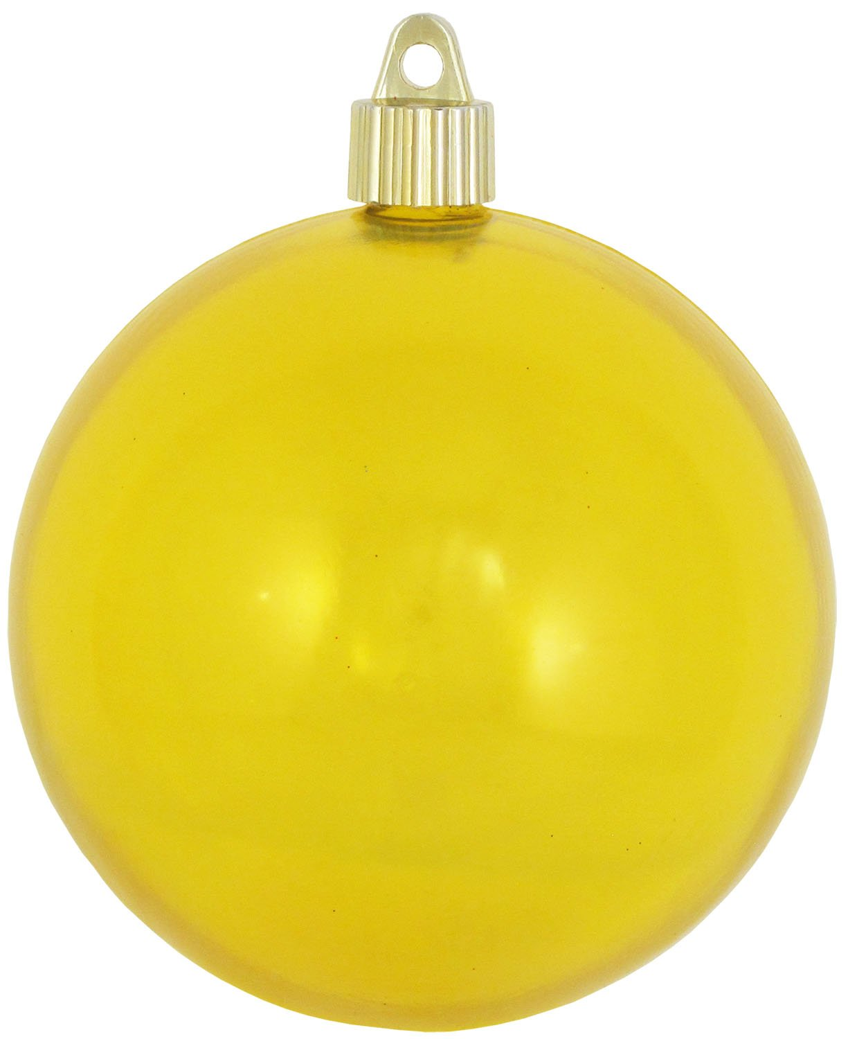 Christmas By Krebs CBK50592 Shatterproof UV-Resistant Christmas Ball Ornaments 4'' Yellow Translucent 48 Piece