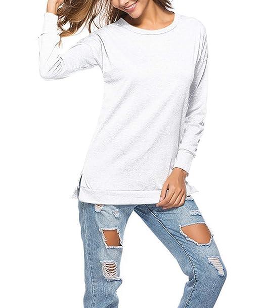 Mujeres Tops Primavera y Otoño Casual Cuello Redondo Camisetas de Manga Larga Básico Blusa Jumpers Moda