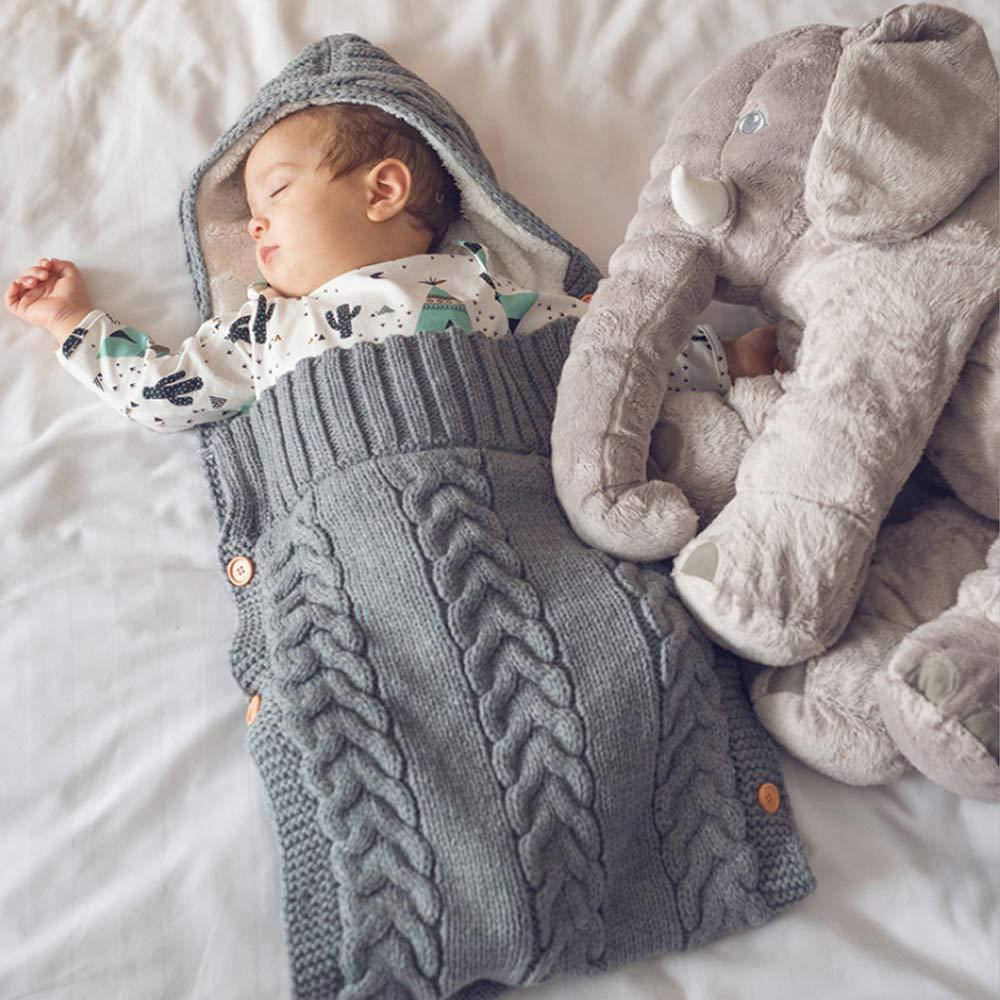 Neugeborenes Baby Gestrickt Wickeln Swaddle,Schlafs/äcke Baby Winter Gestrickt,Swaddle Decke Schlafsack,Kinderwagen Schlafsack Winter,Unisex Baby Schlafsack,Schlafsack Kinderwagen Baby