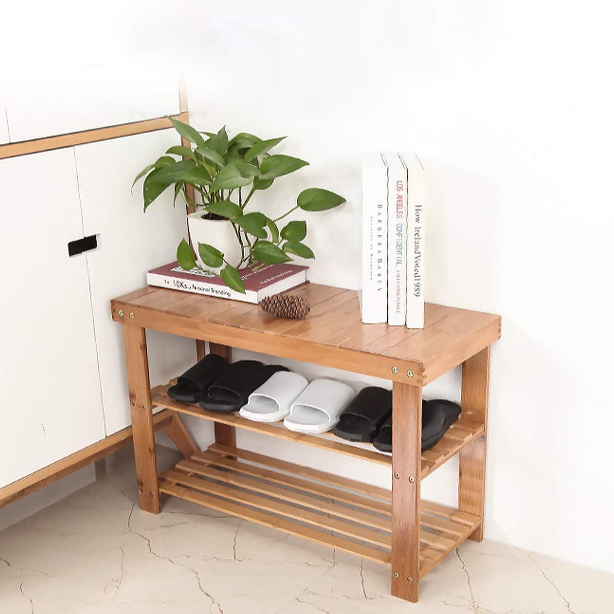 Shoe Rack Bench Natural Bamboo Shoe Organizer 3 Tier Shoe Shelf for Entryway Seat Storage Shelf Hallway Bathroom Living Room 27.5 L x 11.2 W x 17.9 H, Natural Color