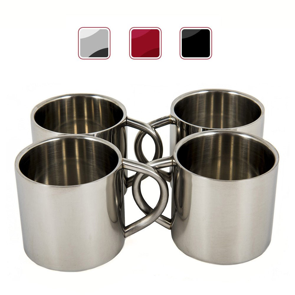 Silver Stainless Steel Double Wall Espresso Cups, XL, Set of 4