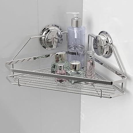 Garbath Suction Cup Wall Mount Corner Shower Shelf Stainless Steel Shower  Basket Bathroom Shower Organizer Rust