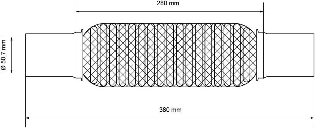 Interlock ECD Germany Flexrohr 56 x 100 x 202 mm mit 2 Schellen Softflex Superflex Flexteil Flexst/ück Flex Rohr Wellrohr Auspuff aus Edelstahl Montage ohne Schwei/ßen Montagepaste 60g