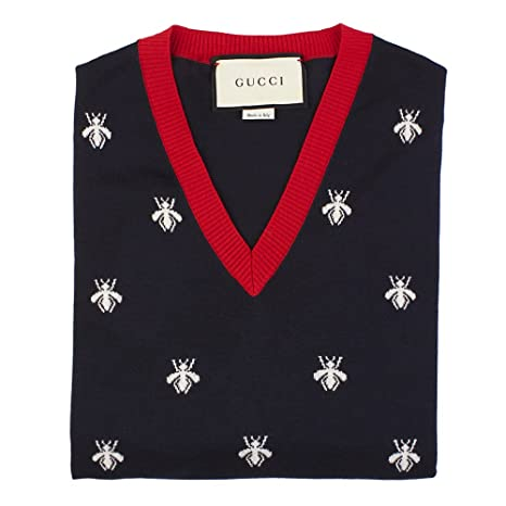 e216b0585 Gucci Men's Bee and Stars Wool V-Neck Sweater Navy Blue: Amazon.ca: Sports  & Outdoors