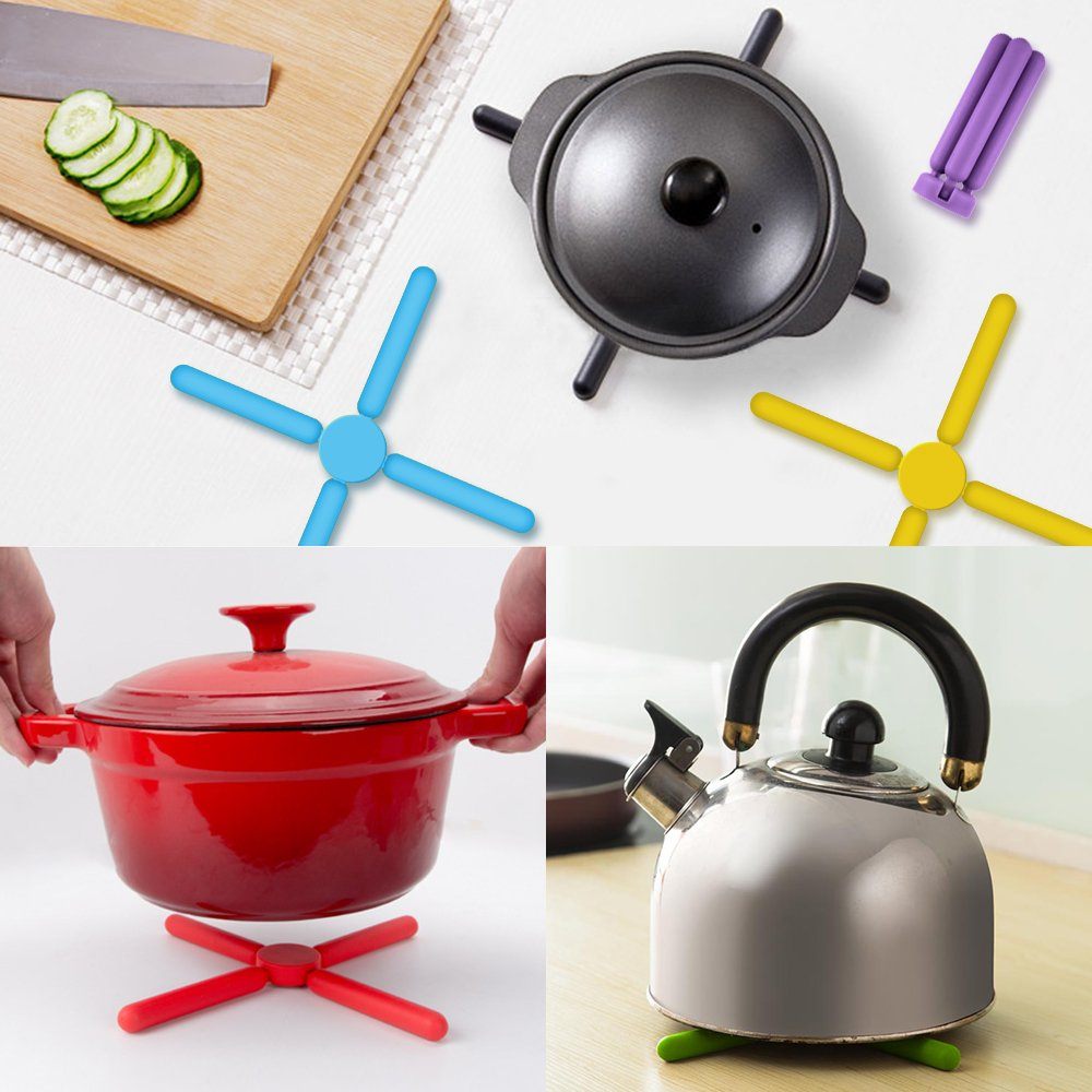 6 Pack Non-slip Foldable Silicone Trivets, SourceTon Collapsible Cross Design Silicone Trivets in Cute Colors, Silicone Pot Holder, Hot Pad, Pot Holder, Free Bonus Spoon Rest/Balloon Whisk Rest by SourceTon (Image #4)